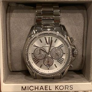 NIB Michael Kors Ladies Silver Chronograph Watch!!